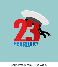 23 February. Peakless hat and figure. Sailors Cap and order. National holiday in Russia. Translation Russian text: 23 February.