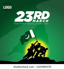23 March. Pakistan Day. Celebration Card. Creative a beautiful background for Independence Day. Pakistay day background. Happy Pakistan's Resolution Day 23rd March 1940. Vector Illustration - Vector