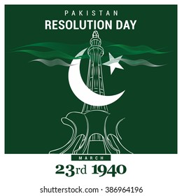 23 March. Pakistan Day. Celebration Card. Creative a beautiful background for Independence Day. Pakistay day background. Happy Pakistan's Resolution Day 23rd March 1940. Vector Illustration