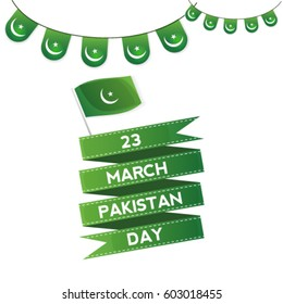 23 march Pakistan Day.  Celebration Background. Vector Illustration