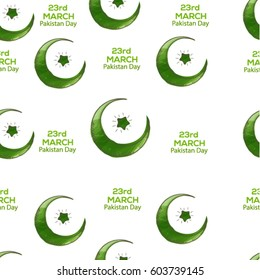 23 of march pakistan day seamless pattern vector.