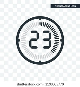 The 23 minutes vector icon isolated on transparent background, The 23 minutes logo concept