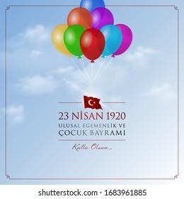 23 nisan cocuk bayrami vector illustration. (23 April, National Sovereignty and Children's Day Turkey celebration card.)