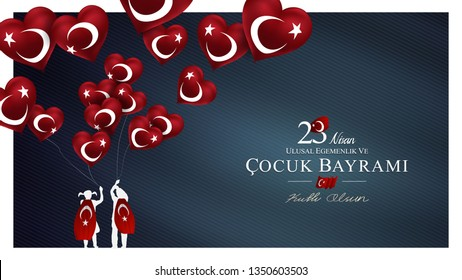 23 nisan ulusal egemenlik ve cocuk bayrami vector illustration. (23 April, National Sovereignty and Children's Day)