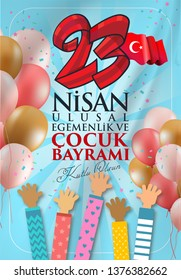 23 nisan ulusal egemenlik ve cocuk bayrami Translation: 23 April, National Sovereignty and Children's Day Turkey celebration card.  graphic design, illustrator.