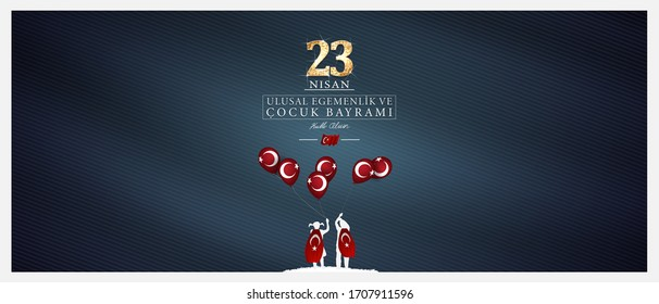 (23 nisan ulusal egemenlik ve cocuk bayrami), 23 April, National Sovereignty and Children's Day vector illustration celebration background