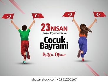 23 Nisan Ulusal Egemenlik ve Cocuk Bayrami. National Sovereignty and Children's Day. Turkey boy running with flag. vector illustration.