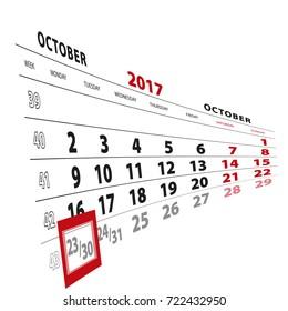 23 October highlighted on calendar 2017. Week starts from Monday. Vector Illustration.