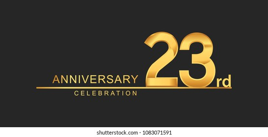 23 years anniversary celebration with elegant golden color isolated on black background, design for anniversary celebration.