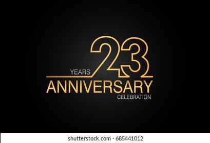 23 years anniversary celebration logotype. anniversary logo with golden and silver color isolated on black background, vector design for celebration, invitation card, and greeting card