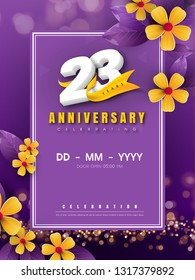 23 years anniversary logo template on golden flower and purple background. 23rd celebrating white numbers with gold ribbon vector and bokeh design elements, anniversary invitation template card design