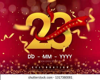 23 years anniversary logo template on gold background. 23rd celebrating golden numbers with red ribbon vector and confetti isolated design elements