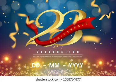 23 years anniversary logo template on gold and blue background. 23rd celebrating golden numbers with red ribbon vector and confetti isolated design elements