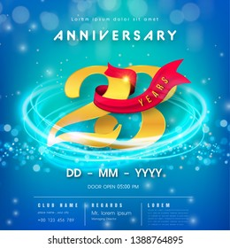23 years anniversary logo template on blue Abstract futuristic space background. 23rd modern technology design celebrating numbers with Hi-tech network digital technology concept design elements.