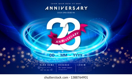 23 years anniversary logo template on dark blue Abstract futuristic space background. 23rd modern technology design celebrating numbers with Hi-tech network digital technology concept design elements.