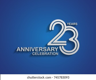 23 years anniversary logotype linked line number with silver color for celebration event isolated on blue background