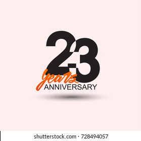 23 years anniversary simple design with negative style and yellow color isolated in white background