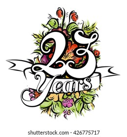 23 Years with nice bouquet of flowers, Greeting Card Design, Vector Hand Drawn Artwork