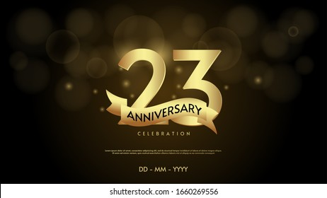23rd anniversary background with illustrations of numbers in a circle with writing on the ribbon.