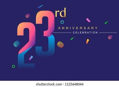 23rd anniversary celebration with colorful design, modern style with ribbon and colorful confetti isolated on dark background, for birthday celebration