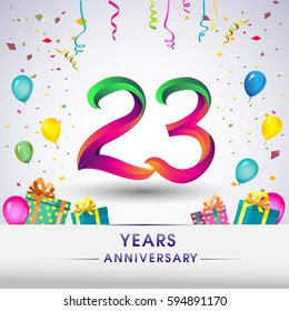 23rd Anniversary Celebration Design, with gift box, balloons and confetti, Colorful Vector template elements for your, twenty three years birthday celebration party.