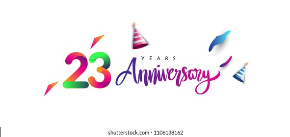 23rd anniversary celebration logotype and anniversary calligraphy text colorful design, celebration birthday design on white background.