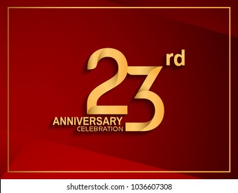 23rd anniversary celebration logotype golden color isolated on red color