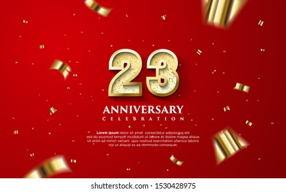 23rd anniversary celebration vector background. by using three colors in the design between white, gold and black. vectors can be edited easily according to their needs and desires.