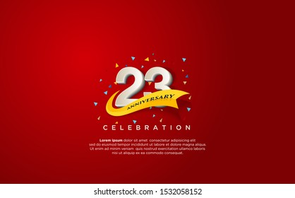23rd anniversary celebration vector background. by using three colors in the design between white, yellow and black. vectors can be edited easily according to their needs and desires.