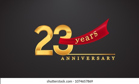 23rd anniversary design logotype golden color with red ribbon for anniversary celebration