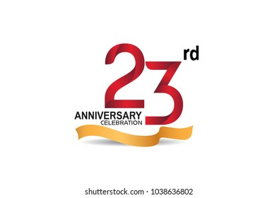 23rd anniversary design logotype red color and golden ribbon for celebration isolated on white background