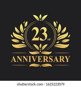 23rd Anniversary Design, luxurious golden color 23 years Anniversary logo design celebration.