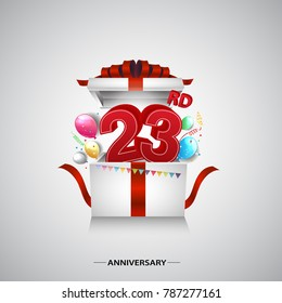 23rd anniversary design with red number inside gift box isolated on white background for celebration event
