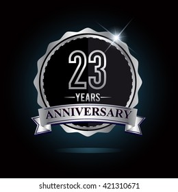 23rd anniversary logo with ribbon and silver shiny badge, vector design for birthday celebration