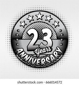 23rd anniversary logo. Vector and illustrations. Comics anniversary logo.
