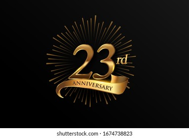 23rd anniversary logotype with fireworks and golden ribbon, isolated on elegant background. vector anniversary for celebration, invitation card, and greeting card.
