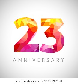 23rd anniversary numbers. 23 years old multicolored logotype. Age congrats, congratulation art idea. Isolated abstract graphic design template. Coloured digits. Up to 32 %, 23% percent off discount.