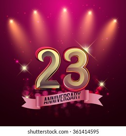 23rd Anniversary, Party poster, banner or invitation - background glowing element. Vector Illustration.