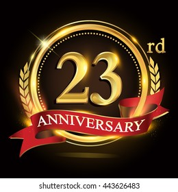 23rd golden anniversary logo, with shiny ring and red ribbon, laurel wreath isolated on black background, vector design for birthday celebration.