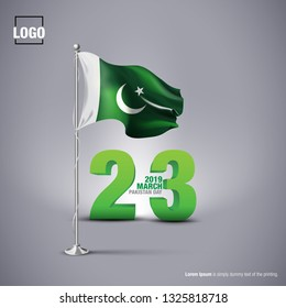 23rd March, 1940 Celebrating Pakistan Day Logo, Typographic emblems & badge with background, Vector illustration