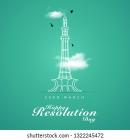 23rd of march Pakistan Day Celebration vector illustration - Vector with English Typography