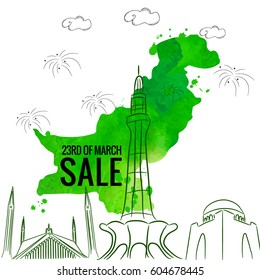 23rd of march pakistan day sale background. vector illustration