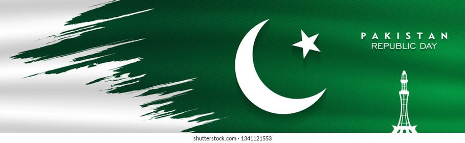 23rd of march pakistan national day celebration card, Happy Pakistan's Resolution Day 23rd March 1940. flag of pakistan brush design Vector Illustration