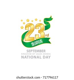 """23rd September Saudi Arabia National Day Logo, Typographic emblems & badge with  White Background, An inscription in English """"Kingdom of Saudi Arabia, National Day"""" , Green Ribbon Flag,"""