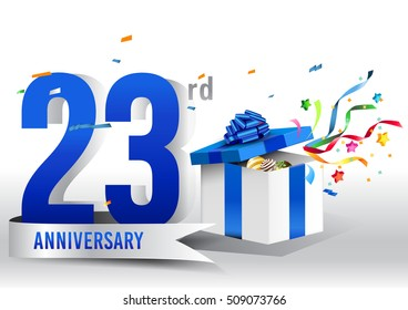 23rd years anniversary background with ribbon, confetti and gift on white. Poster or brochure template. Vector illustration.