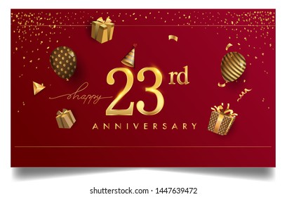 23rd years anniversary design for greeting cards and invitation, with balloon, confetti and gift box, elegant design with gold and dark color, design template for birthday celebration.