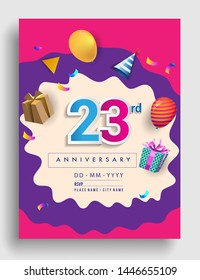 23rd Years Anniversary invitation Design, with gift box and balloons, ribbon, Colorful Vector template elements for birthday celebration party.
