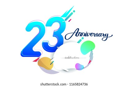 23rd years anniversary logo, vector design birthday celebration with colorful geometric background, isolated on white background.