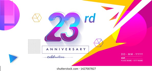 23rd years anniversary logo, vector design birthday celebration with colorful geometric background and circles shape.