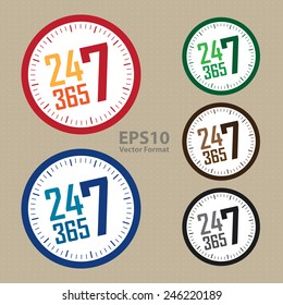 24 7 365 service is available year-round sticker, badge, icon, stamp, label, banner, sign, vector format